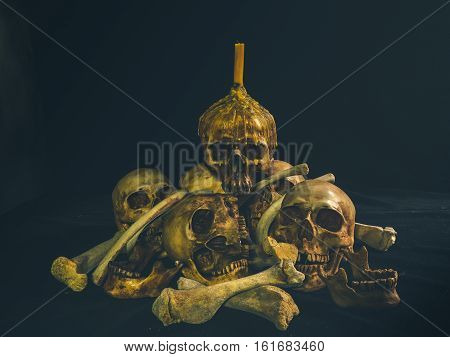 Still life with group of human skull and candle light on dark background