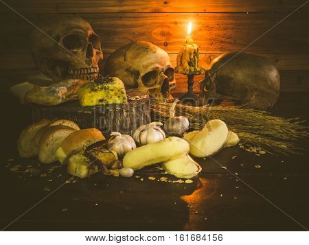 Banana cakes and garlic bread have expired fungus is harmful to health. Still life object poster
