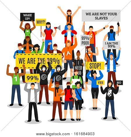 Composition of protesting crowd with colorful people characters faceless rioters holding various placards with editable text vector illustration