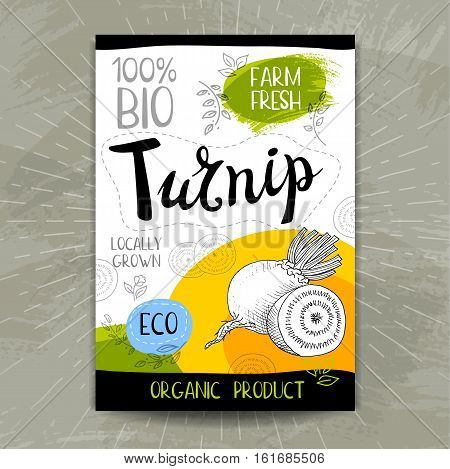 Set of colorful stickers in sketch style, food, spices, white background. Turnip. Vegetables, farm fresh, locally grown. Hand drawn vector illustration.