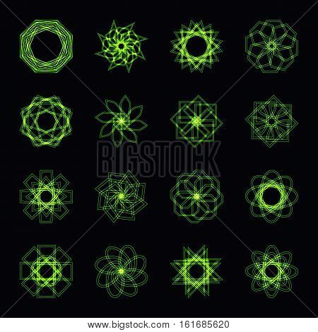 Abstract green neon shape, futuristic wavy fractal of star and circle collection. Vector square and other different decorative elements. Cool geometric illustration