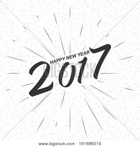 Monochrome text Happy New Year 2017 for greeting card, flyer, poster logo with text lettering, light rays of burst. Isolated on white. Vector illustration.