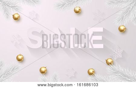 Sale poster for Christmas. Xmas, New Year holidays white background with luxury golden and gold Christmas balls decoration, frosty pine tree branches. Luxury or vip retail promo offer banner modern