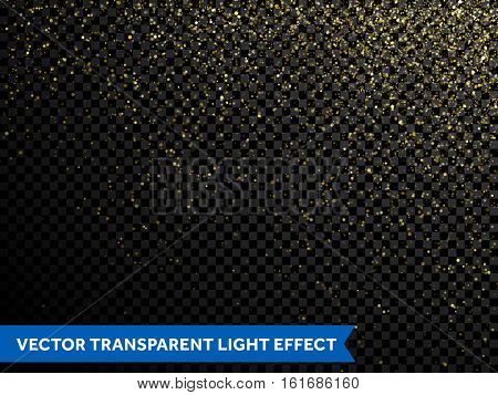 Glitter particles effect. Gold glittering space star dust trail sparkling glitter light on transparent vector background for wedding, christmas, new year or birthday