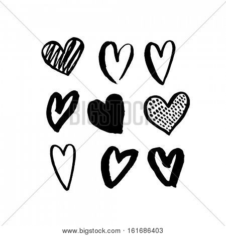 Vector heart icons hand drawn art design for Saint Valentine day. Isolated hearts set pattern. Love sketch symbols. Greeting card design element. Marker or felt-tip pen drawing