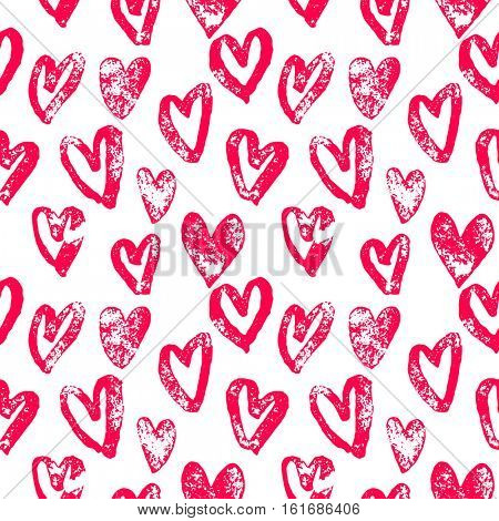 Valentine Day hearts pattern. Background of hand drawn heart icons. Seamless pink valentines for 14 February love celebration. Marker or felt-tip pen sketch drawing. Greeting card design element