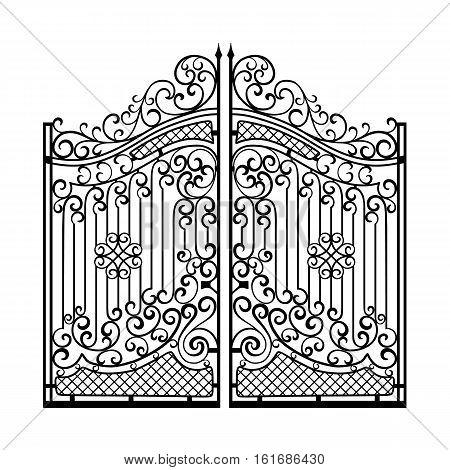 Beautiful iron ornament gates. Black on white