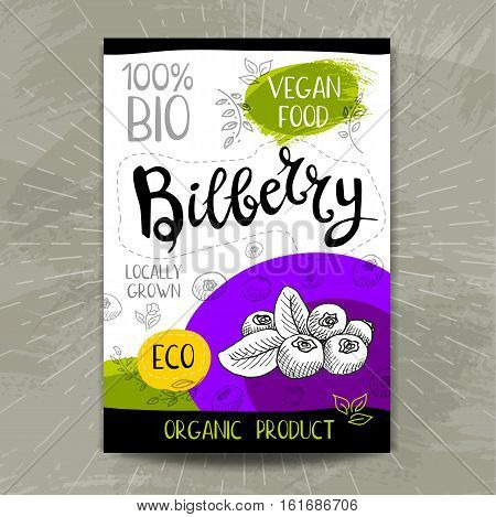 Set of colorful stickers in sketch style, food, spices, white background. Bilberry. Organic, fresh, bio, eco. Hand drawn vector illustration