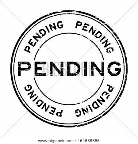 Grunge black pending round rubber stamp for business decision purpose
