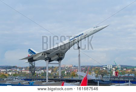 GERMANY, SINSHEIM - NOVEMBER 6, 2016. Concord french plane on November 6 2016 in Sinsheim, Germany