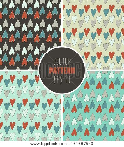 Seamless Vector Design Colorful Pattern With Hearts