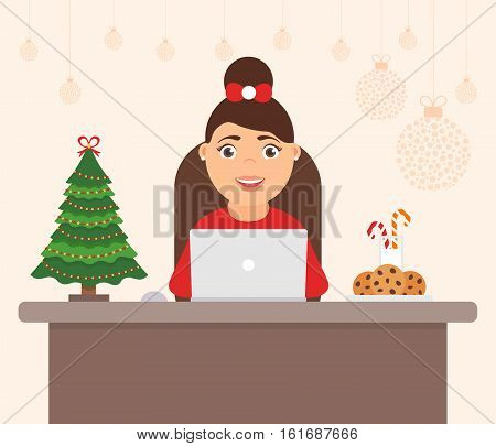 Decorated workplace office Merry Christmas and Happy New Year. Cute character women, holiday tree. Celebration flat vector illustration.
