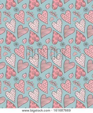 Abstract Seamless Valentine's Cute Pattern With Hearts Flowers And Leaves
