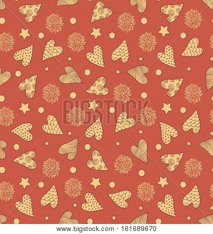 Abstract Seamless Valentine's Cute Pattern With Hearts Flowers And Stars