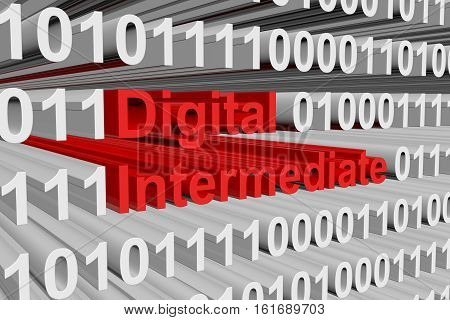 Digital intermediate in the form of binary code, 3D illustration