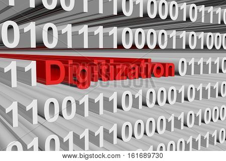 digitization in the form of binary code, 3D illustration