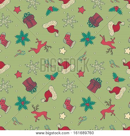 Abstract Cute Holiday Seamless Pattern With Christmas Symbols