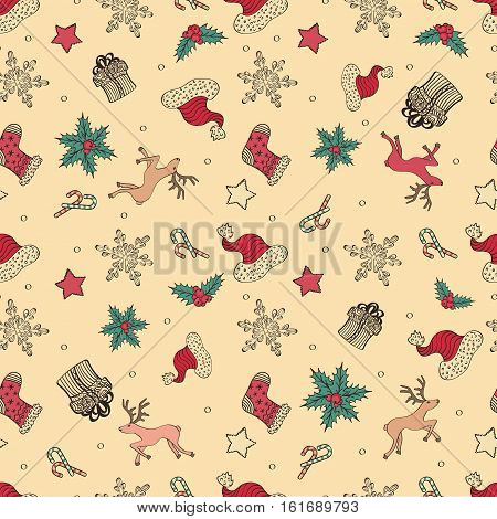 Abstract Cute Holiday Christmas Seamless Pattern With Deers, Santa's Hat And Gifts