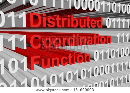 Distributed coordination function in the form of binary code, 3D illustration