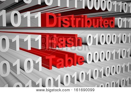 distributed hash table as a binary code 3D illustration