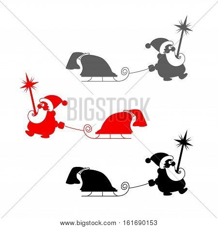 Vector christmas set. Silhouette of Santa Claus with sledge and bag of gifts