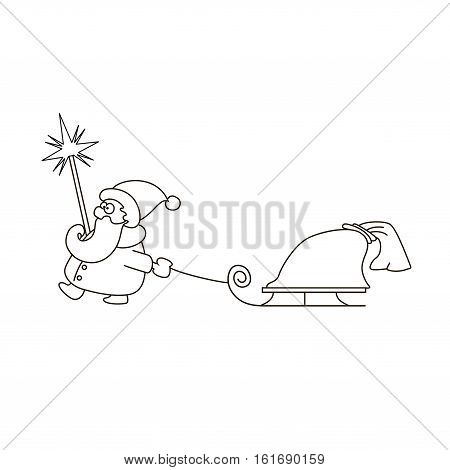 vector illustration of linear Santa Claus with sledge and bag of gifts. Coloring book page