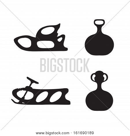 Sled. Winter. Hand drawn vector set of sled silhouette