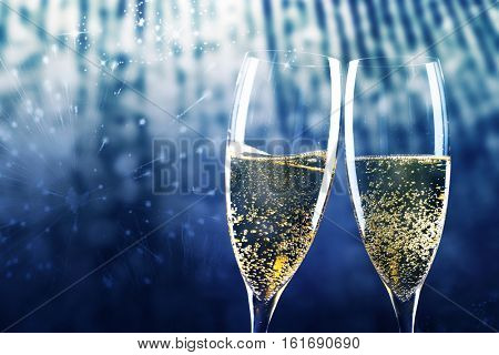 toasting with champagne glasses