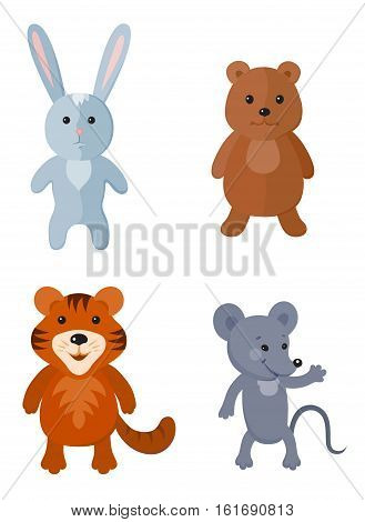 Set of cartoon animals. Cute hare bear tiger and mouse will be perfect for a child's design theme of any kind