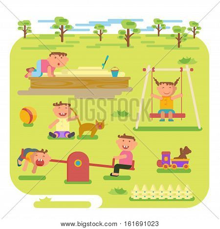 Playground infographic elements vector flat illustration, children play on the outdoors, in the sandbox, boys and girls go for a drive on a swing. Funny cartoon character. Vector illustration