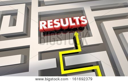 Results Reach End Goal Maze Outcome 3d Illustration