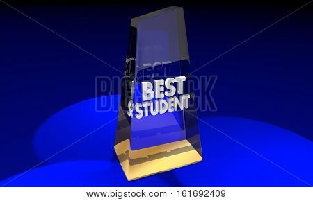 Best Student Learner Award Trophy Prize 3d Illustration