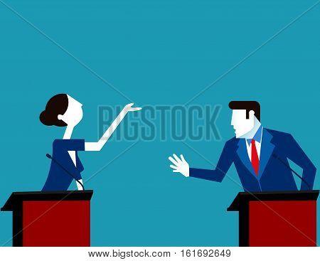 Business People Debate. Concept Business Vector Illustration. Vector Flat