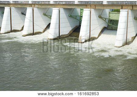 Mae Klong Dam stops the water flow of Mae Klong River Tha Moung Kanchanburi Thailand
