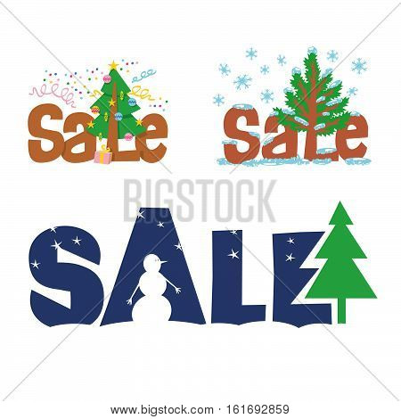 A set of vector signs christmas sale. A set of labels for a poster, display cases, leaflet. Sale special offer - a percentage of sales. X-max tree