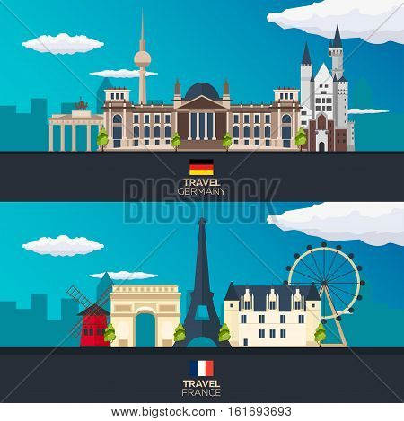 Travel To Germany And France, Europe Poster Skyline. Vector Illustration.