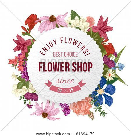 flower shop round paper emblem over hand drawn floral background