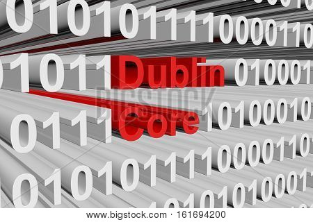 Dublin Core in the form of binary code, 3D illustration
