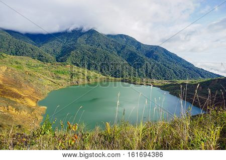 Beautiful lake of Mamut Copper Mine, Kundasang,Ranau,Sabah,Malaysia.Ranau was home to the largest mining project in Malaysia,the Mamut Copper Mine,before it ceased operations in 1999.
