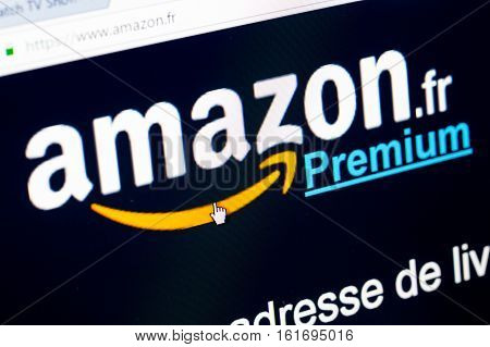 Paris France - December 15 2016: Amazon Prime French homepage Sign-up . Amazon Prime (Premium in french) is an annual subscription offered by amazon covering a set of privileges and services standard free shipping and orders within 1 day
