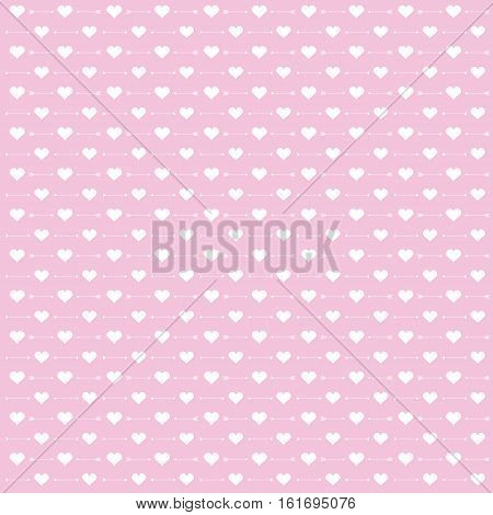 Background of Valentine illustration with cute arrow and love pink background suitable for Valentine scrap paper, wallpaper and postcard