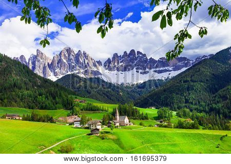 breathtaking Alpine scenery - beautiful small village in val di Funes. Italy