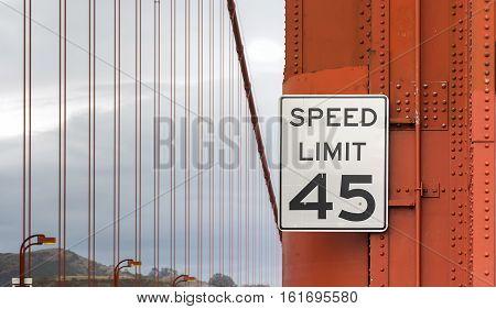 Speed limit sign on Golden Gate Bridge in San Francisco, California