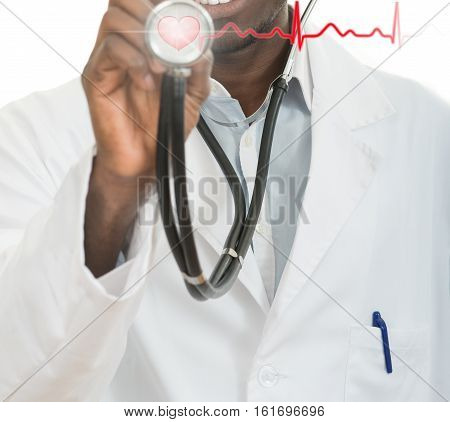 African-American black doctor man with stethoscope with hearth EKG.