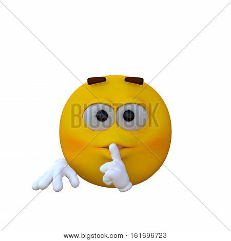 One yellow smiley. Shh - Don't Tell. 3D rendering, 3D illustration