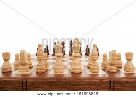 Wooden chess game black and white chessmen on white background