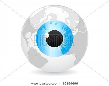 (raster image of vector) spy the world vector illustration