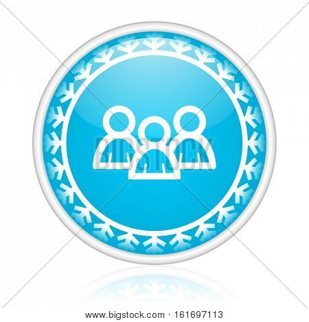 People vector icon. Winter and snow design round web blue button. Christmas and holidays pushbutton.