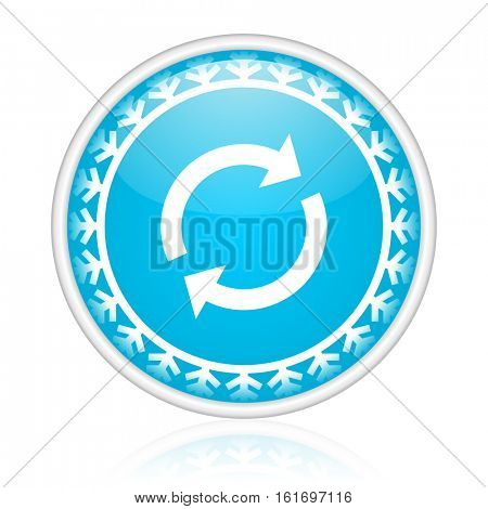Reload vector icon. Winter and snow design round web blue button. Christmas and holidays pushbutton.