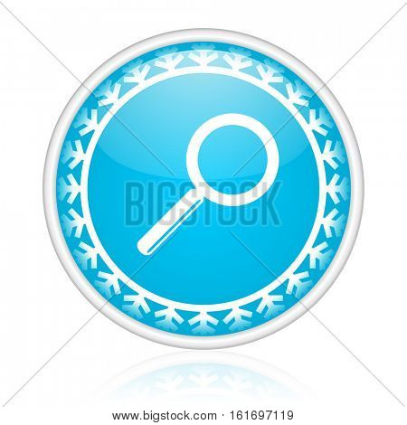 Search vector icon. Winter and snow design round web blue button. Christmas and holidays pushbutton.